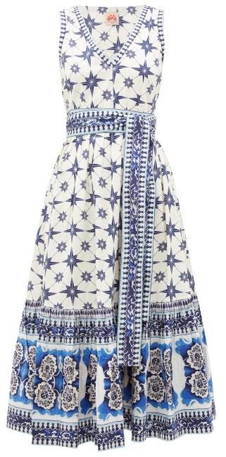 Le Sirenuse, Positano - Evelin Star-print Cotton Midi Dress - Blue Print