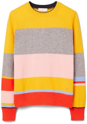 Tory Burch COLOR-BLOCK CASHMERE PULLOVER