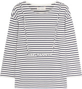 Chinti and Parker Ruffled Striped Cotton-jersey Top - Midnight blue