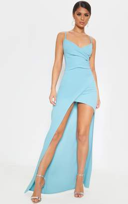 PrettyLittleThing Dusty Turquoise Wrap Front Crepe Maxi Dress