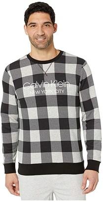 Calvin Klein Underwear Modern Cotton Buffalo Check Sweatshirt (Graphic Buffalo Check/Grey Heather) Men's Clothing