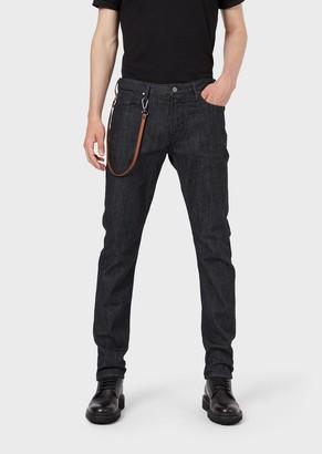 Emporio Armani Slim-Fit J06 Rinse-Wash Denim Jeans With Carabiner