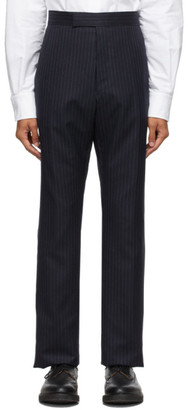Thom Browne Navy Super 120s Chalk Stripe Trousers