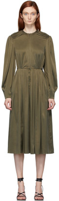 Situationist Khaki Silk Long Sleeve Dress