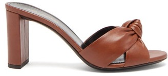 Saint Laurent Bianca Knotted Leather Mules - Tan