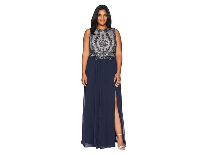 Adrianna Papell Plus Size Sleeveless Bead Bodice Gown