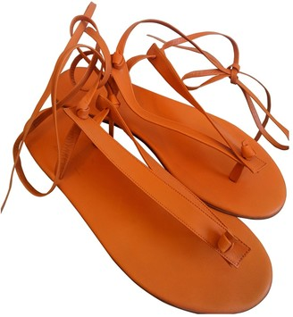 Martiniano Orange Leather Flats