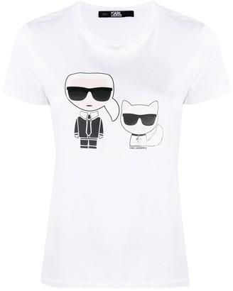 Karl Lagerfeld Paris logo print round neck T-shirt