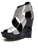 Diane von Furstenberg Opal Wedge Sandal In Lead Crackle Metallic