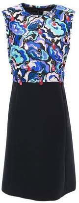 Emilio Pucci Embellished Printed Twill-paneled Wool And Silk-blend Dress