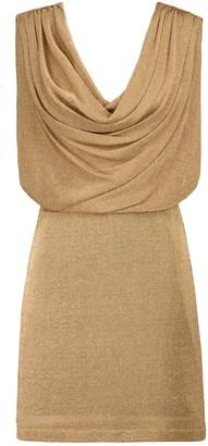 Fendi Cowl-neck metallic minidress