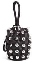 Alexander Wang Mini Roxy Studded Suede Bucket Bag - Black