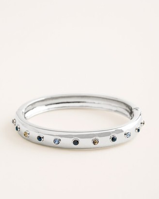 Chico's Silvertone and Blue Simulated Stone Hinged Bangle