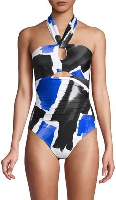 Calvin Klein Swim Abstract Cutout One-Piece Swimsuit