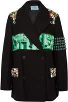 Prada Embellished Printed Cotton-twill Blazer - Black