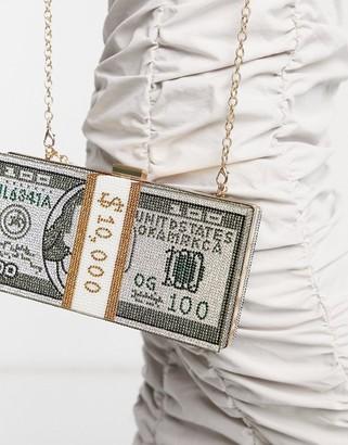 Ego boujee hardcase bag in diamante with dollar print