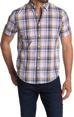 Original Penguin Short Sleeve Dobby Plaid Print Shirt