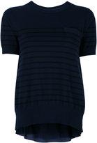 Sacai cupro insert short sleeved sweatshirt - women - Cotton/Polyester/Cupro - 1