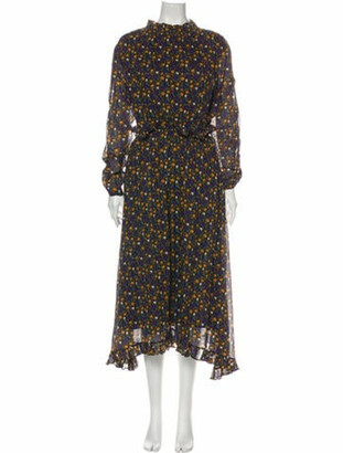 Masscob Floral Print Midi Length Dress Black