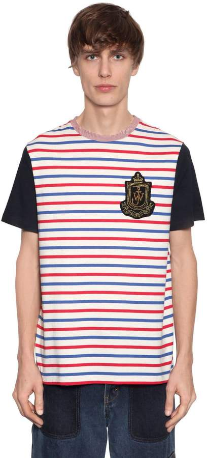J.W.Anderson Logo Patch Striped Cotton Jersey T-Shirt