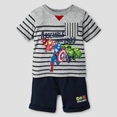 Marvel Toddler Boys' Avengers Top And Bottom Set - Gray