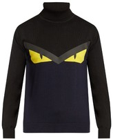 Fendi Bag Bugs-intarsia Roll-neck Wool Sweater