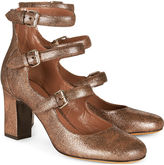 Tabitha Simmons Bronze Cracked Leather Ginger Heels