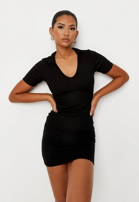 Missguided Black Rib Collar Detail Mini Dress