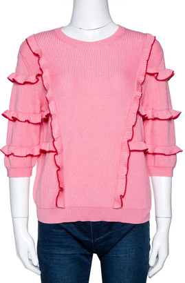 Valentino Pink Cotton Knit Ruffle Trim Sweater M