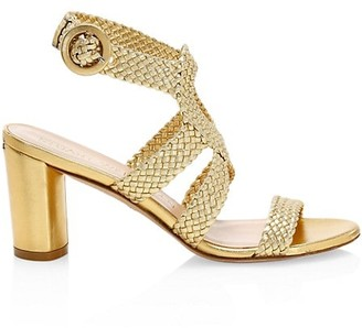 Stuart Weitzman Vicky Woven Metallic Leather Sandals