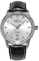 Alpina Men's Automatic Watch with Automatic Dial Analogue Display and Black Leather Strap
