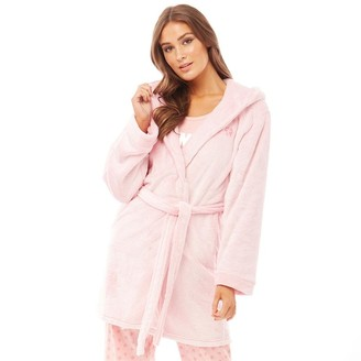 Bedroom Athletics Womens Sade Snow Tipped Flannel Fleece Dressing Gown Soft Pink