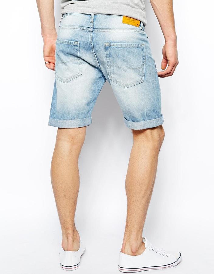 Jack and Jones Denim Shorts In Stonewash