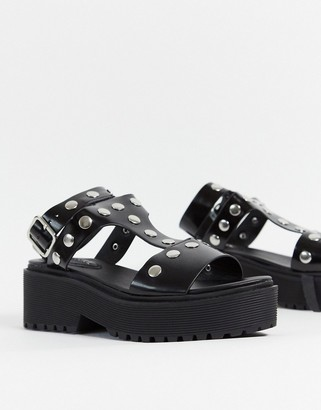 Monki studded gladiator sandals-Black
