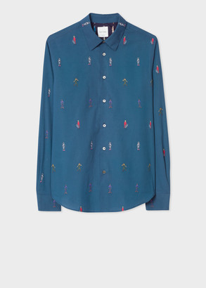 Paul Smith Men's Slim-Fit Teal 'People' Motif Shirt