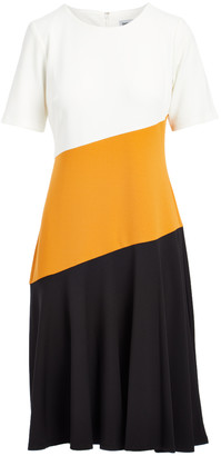 Inca Shelby & Palmer Women's Career Dresses IVORY  Gold & black Color Block Pleated Sheath Dress - Women