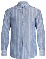 Brunello Cucinelli Button-down Collar Cotton And Linen-blend Shirt