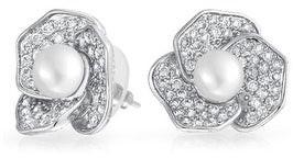 Bling Jewelry Imitation Pearl Flower Stud earrings Rhodium Plated 19mm