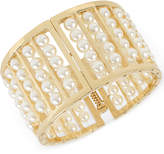INC International Concepts M. Haskell for Gold-Tone Imitation Pearl Wide Bangle Bracelet, Only at Macy's