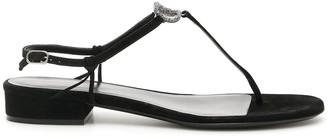 Valentino VLogo Crystal Embellished Flat Sandals