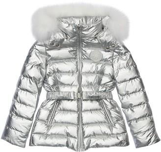 Yves Salomon Enfant Laminated Nylon Coat W/ Fur