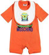 Moschino Car Printed Cotton Jersey Romper & Bib