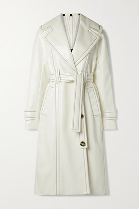 Proenza Schouler Belted Glossed Faux Leather Coat - Ivory