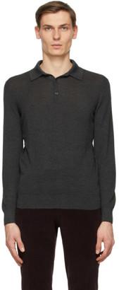 Ermenegildo Zegna Grey Cashmere and Silk Knit Long Sleeve Polo