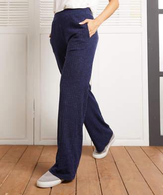 Simple By Suzanne Betro Simple by Suzanne Betro Women's Casual Pants 102NAVY - Navy Ribbed Straight-Leg Pants - Women & Plus