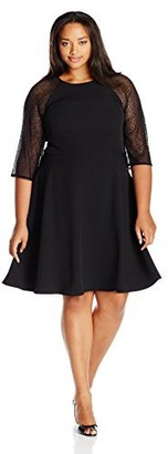 London Times Women's Plus Size 3/4 Sleeve Round Neck Crepe Fit & Flare Dress