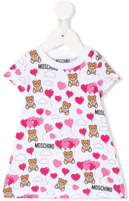 MOSCHINO BAMBINO logo heart print T-shirt dress