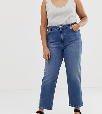 Asos DESIGN Curve Farleigh high waisted straight leg jeans in dark stone wash
