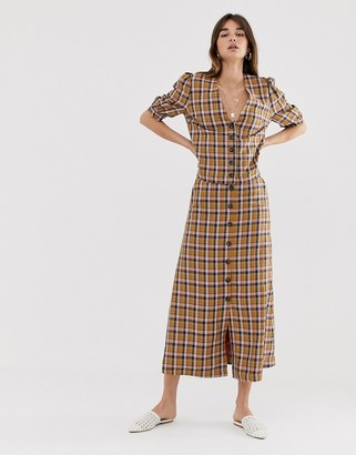 Gestuz Acie check button through midi skirt