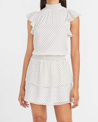 Express Metallic Polka Dot Smocked Waist Mock Neck Dress